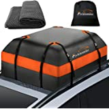 Fivklemnz Car Roof Bag Cargo Carrier, 15 Cubic Feet Waterproof Rooftop Cargo Carrier with Anti-Slip Mat + 8 Reinforced Straps