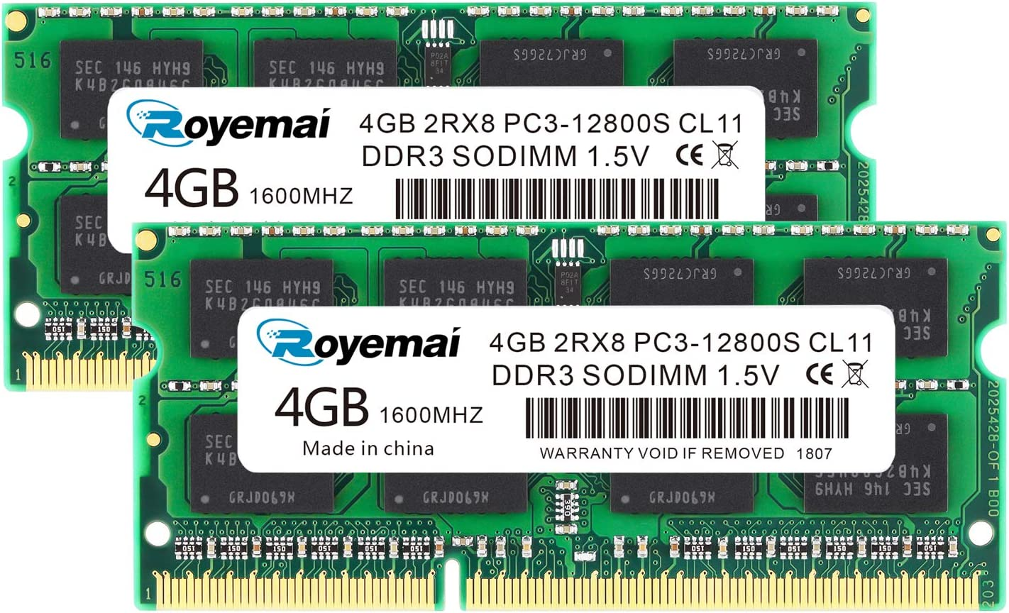 PC3-12800, DDR3 1600, ROYEMAI DDR3 RAM 8GB Kit (2x4GB) 1.5V CL11 204-pin 2Rx8 8GB DDR3 1600mhz DDR3 Sodimm Notebook RAM Memory for Laptop Computer