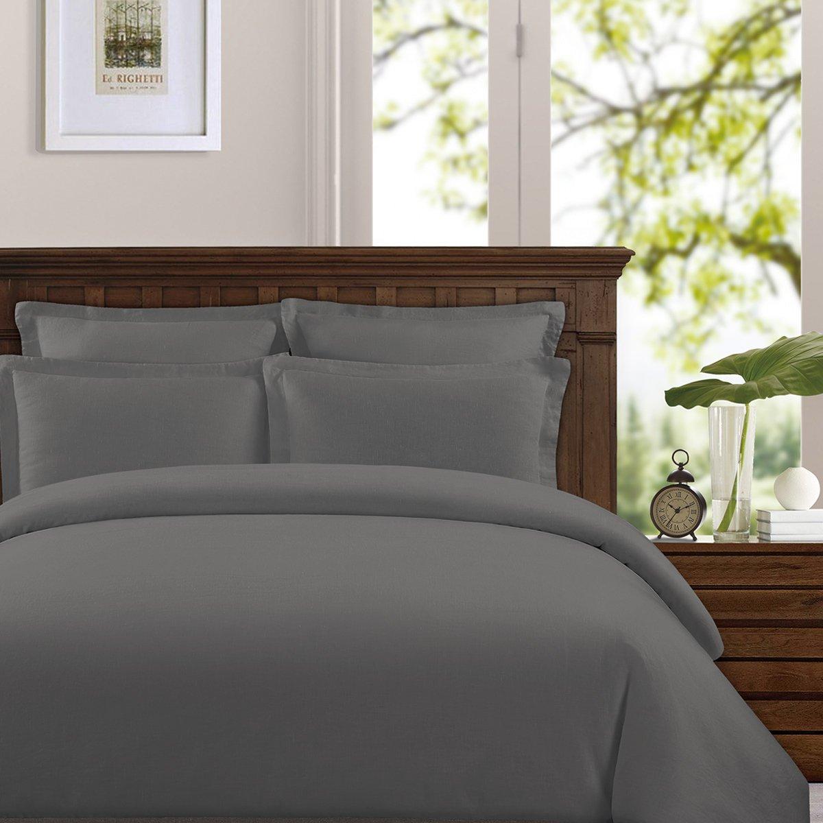 Echelon Home Washed Belgian Linen Duvet Cover Set, King, Slate Grey