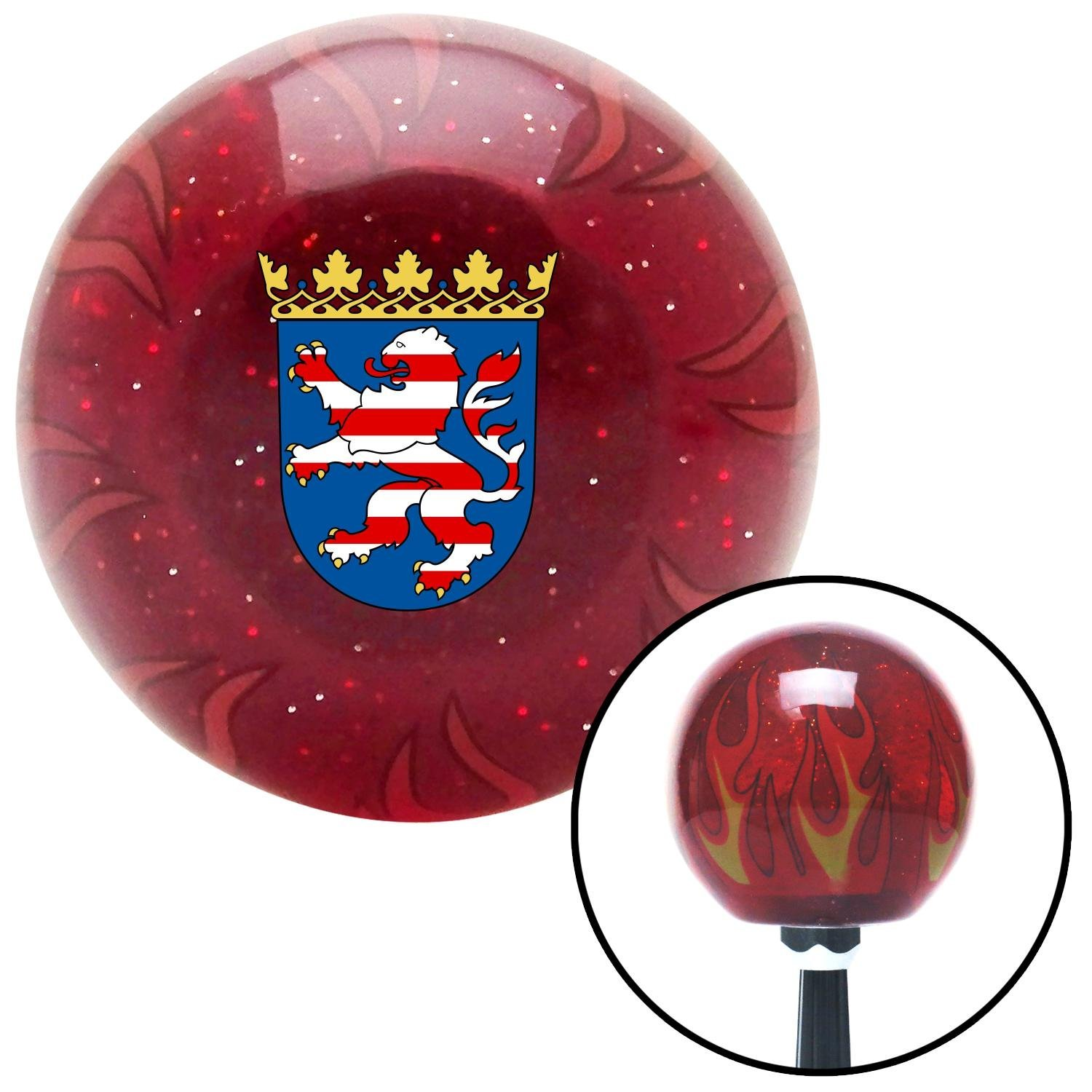 Hesse Coat of Arms American Shifter 243506 Red Flame Metal Flake Shift Knob with M16 x 1.5 Insert
