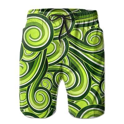 緑の波柄 メンズ サーフパンツ 水陸両用 水着 海パン ビーチパンツ 短パン ショーツ ショートパンツ 大きいサイズ ハワイ風 アロハ 大人気 おしゃれ 通気 速乾
