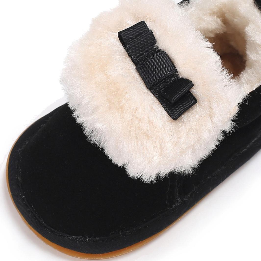 Iuhan Kids Plush Bow Baby Moccasins Shoes Soft Sole Non-slip Warm Velvet Snow Boots