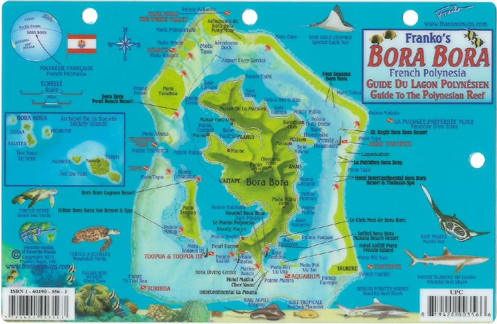Map Bora Bora Bora Bora Map & Guide to the Polynesian Reef Franko Maps Laminated  Map Bora Bora