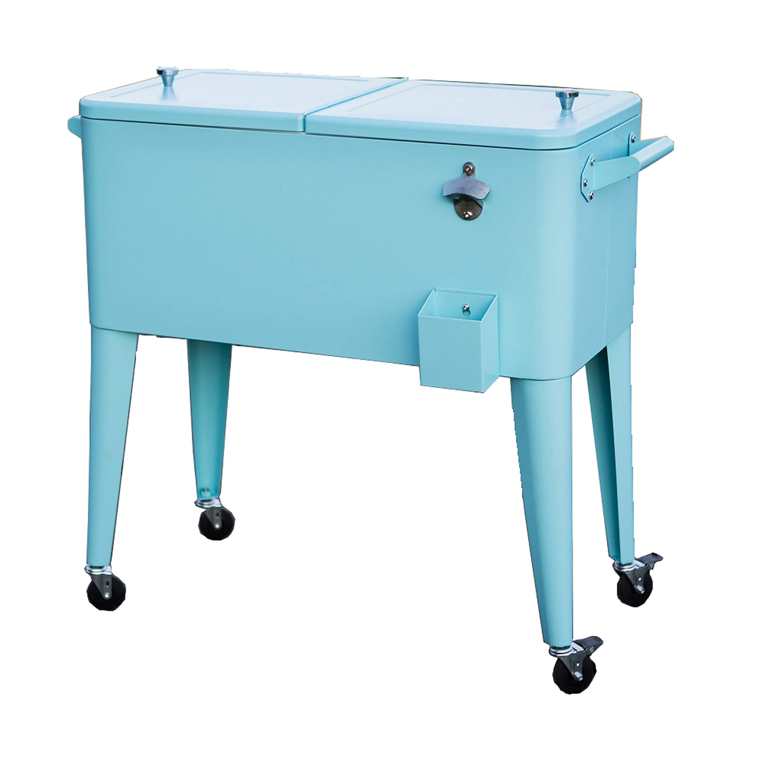 Permasteel PS-203-TURQ-AM 80 Quart Portable Rolling Patio Cooler, Turquoise by Permasteel