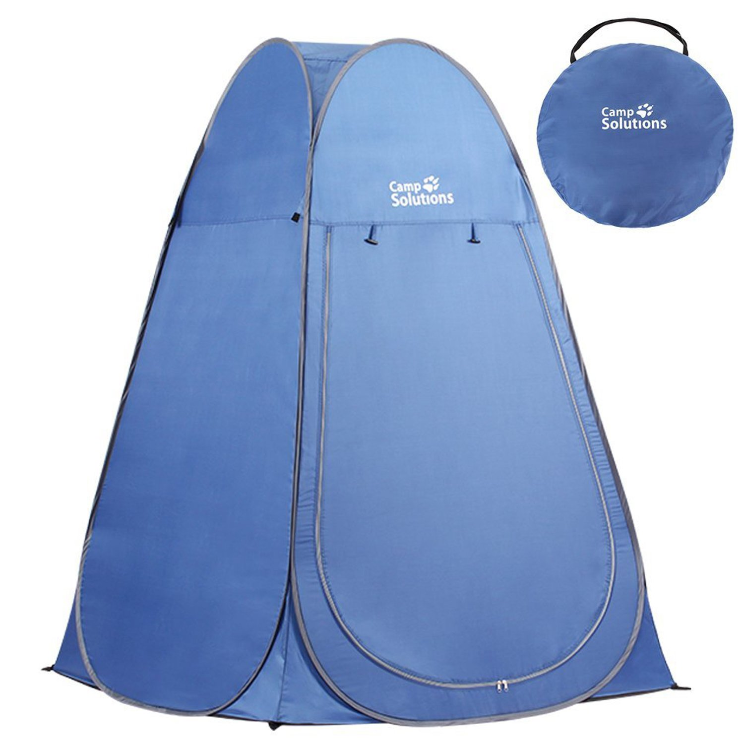 Camp Solutions Portable Pop Up Privacy Shelter Dressing Changing Privy Tent Cabana Screen Room Weight Bag for Camping Shower Fishing Bathing Toilet Beach Park, Carry Bag Included (Blue) by Camp Solutions