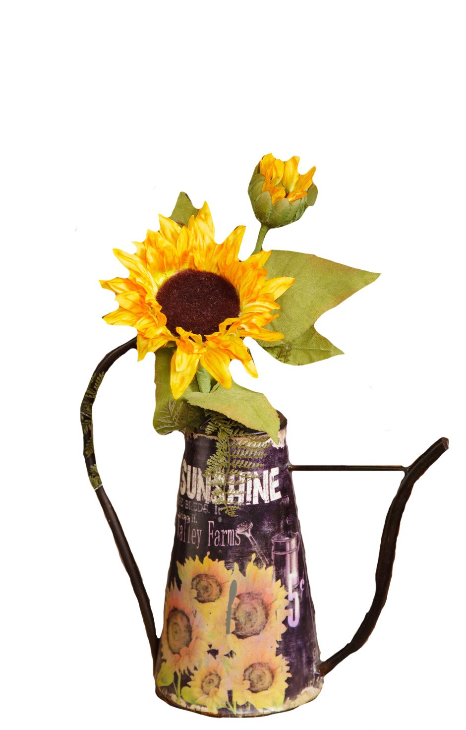 Your Heart's Delight Sunflower Watering Can, 12-3/4 by 12-1/2 by 6-Inch