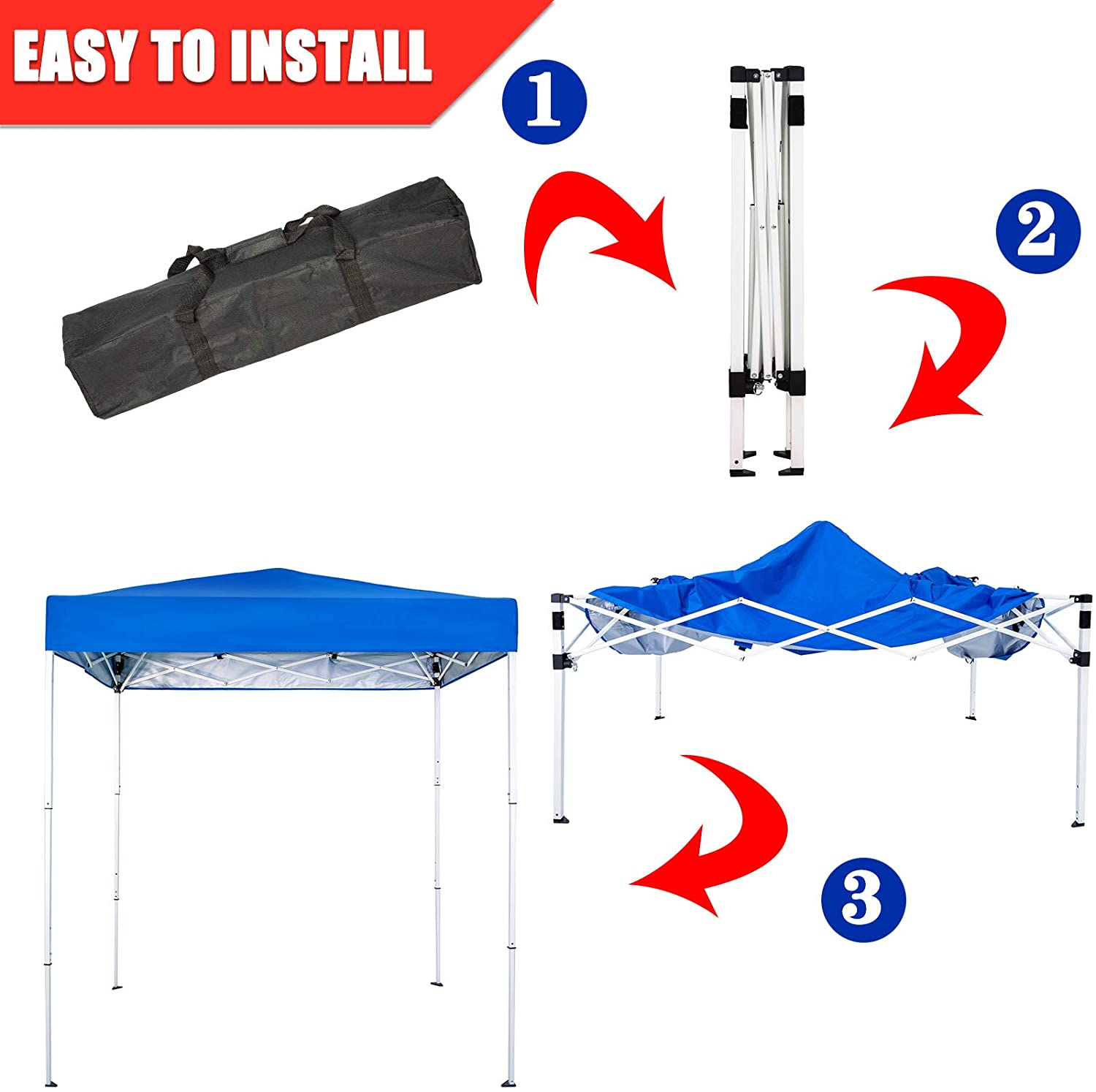 Royal Blue Sunnyglade 6x4 Ft Pop-Up Canopy Tent Outdoor Portable Instant Shelter Folding Canopy with Carry Bag