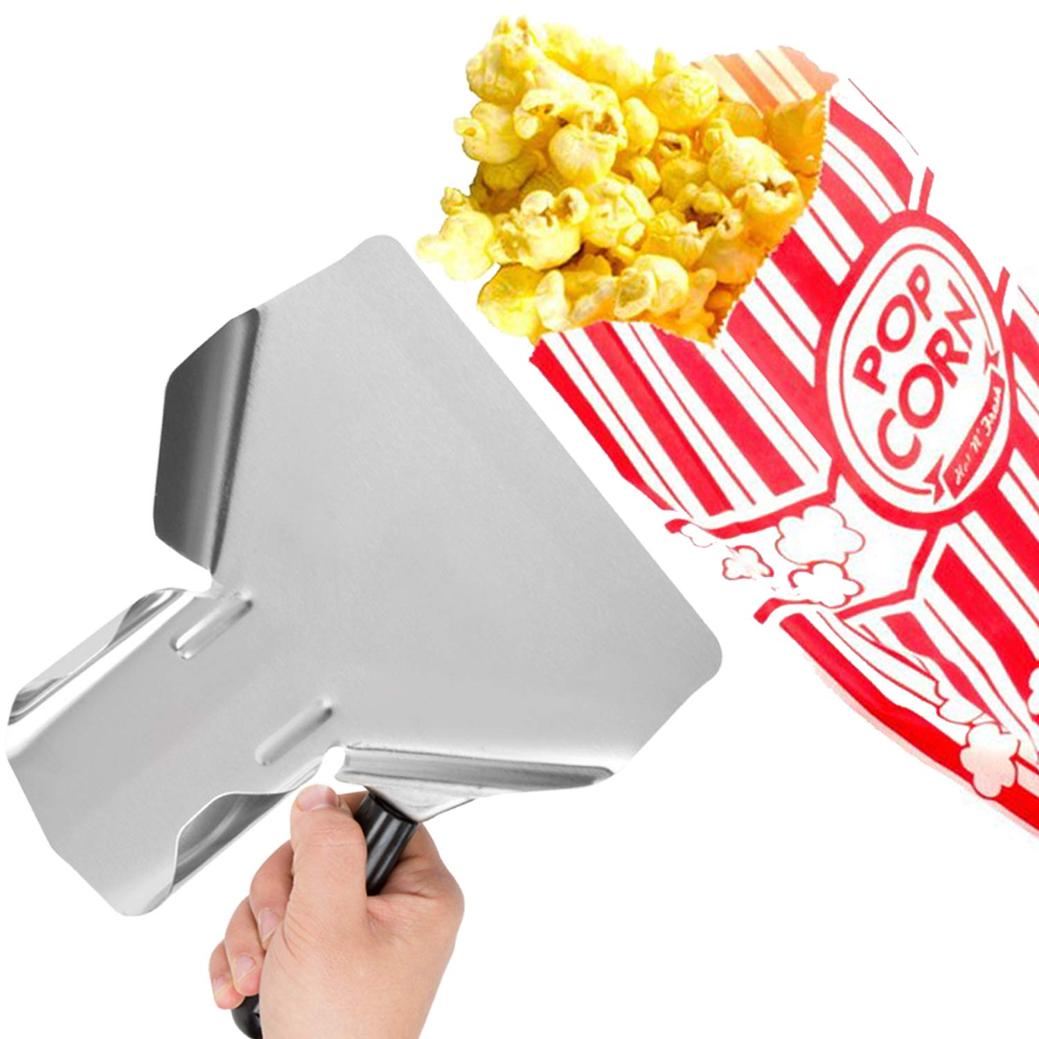 Stainless Steel Popcorn Scoop - Carnival King 1oz Popcorn Bags For Party (pack of 100) - Popcorn Scooper And Bags Bundle - Complimentary CUSINIUM Coasters, Ebook