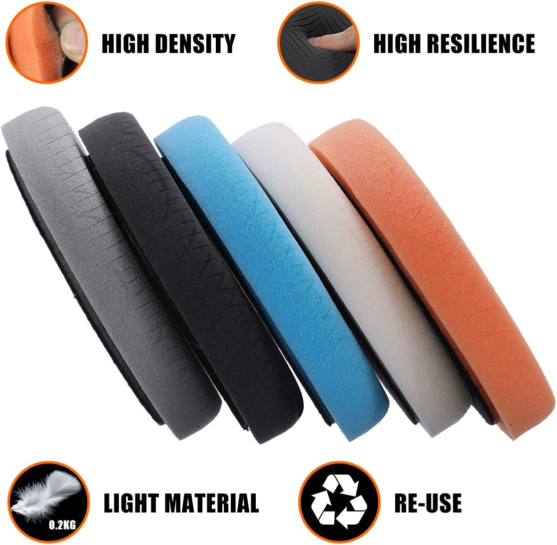 150mm Waxing Pads kit for Drill Buffer Polisher Matching Velcro Backing Pad MATCC Polishing Buffing Pads 5 Pcs 6 Inch