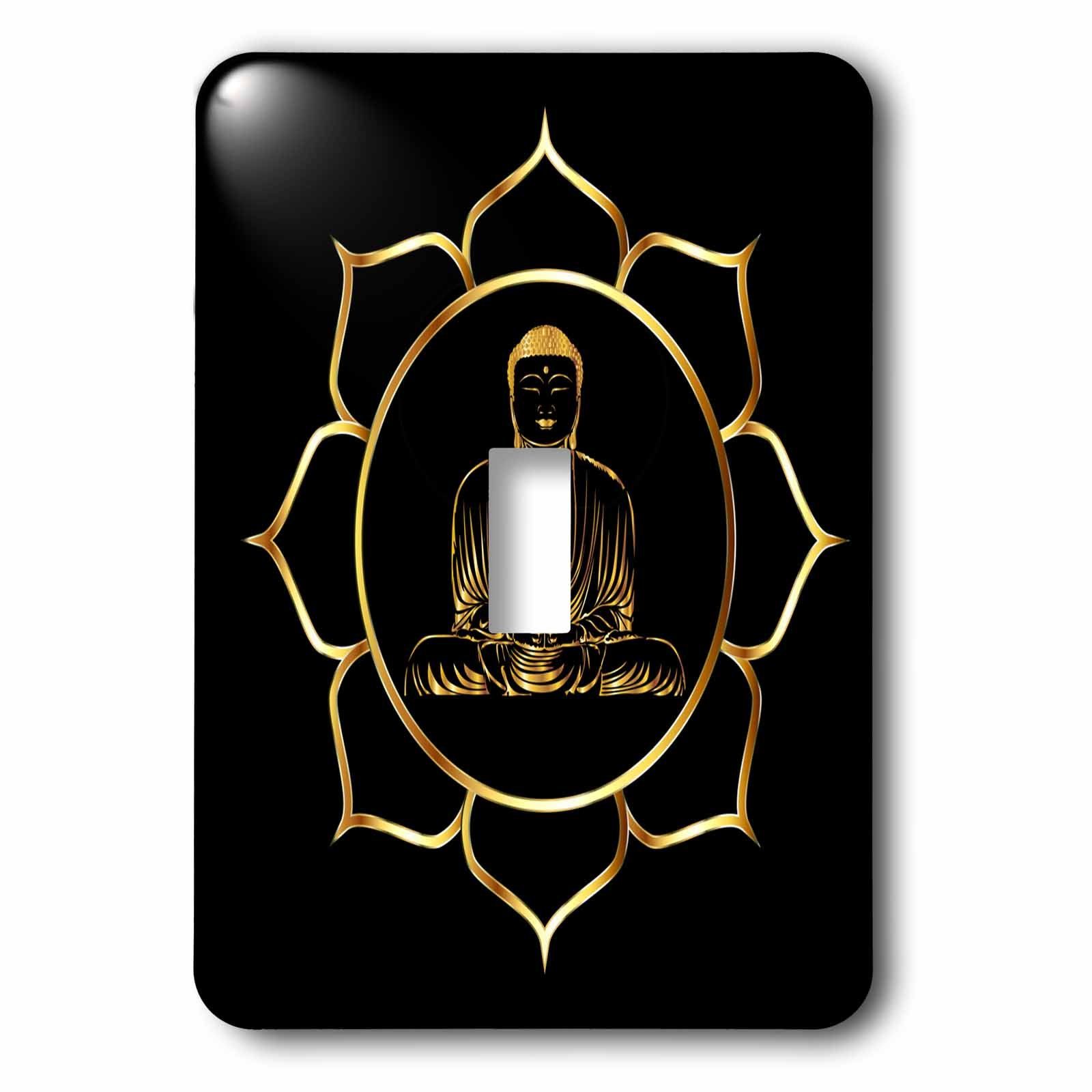 3dRose Sven Herkenrath Buddha - Buddha Asia Symbol Fantasy Thai Religion Spiritual Design Gold Black - Light Switch Covers - single toggle switch (lsp_254276_1)