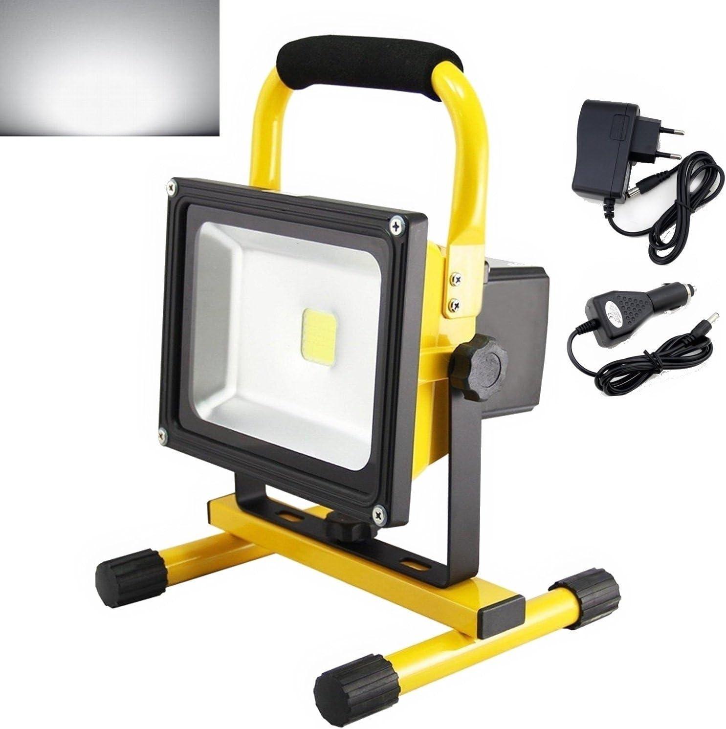 20W LED Strahler IP65 Akku Fluter Arbeitslicht Handlampe Tragbar Scheinwerfer DE