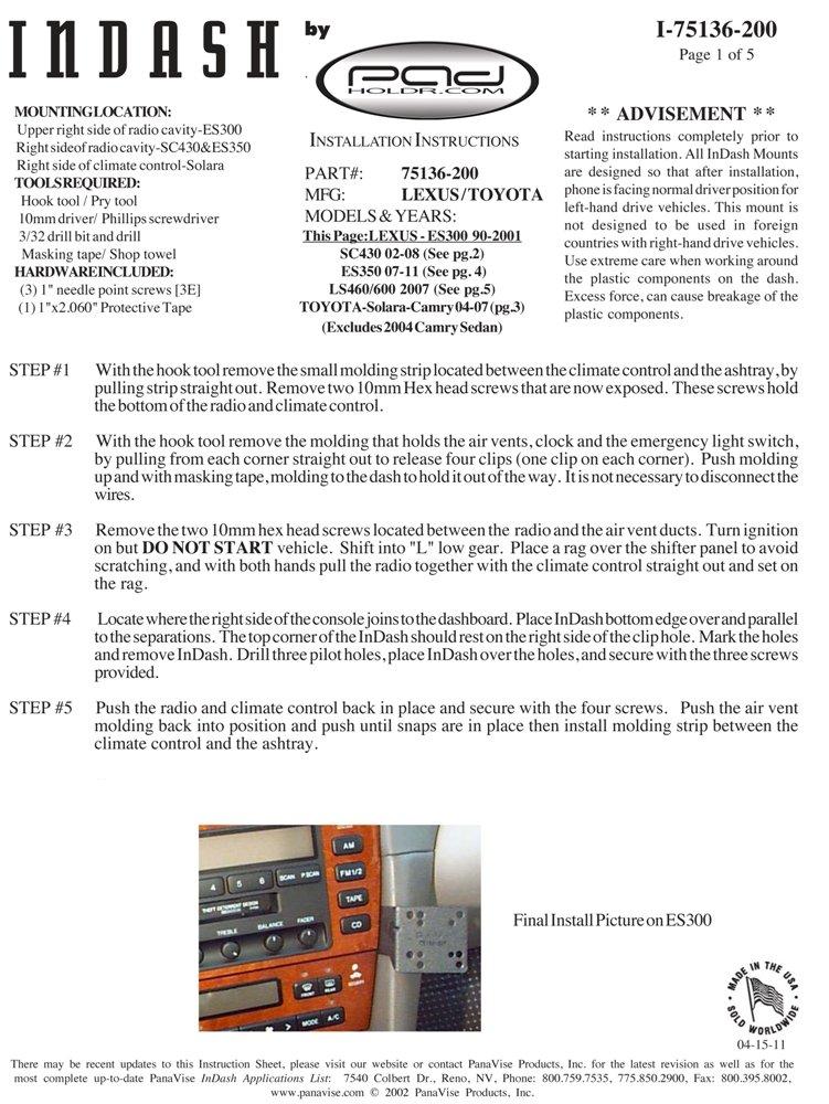 Camry for iPad /& Other Tablets Padholder Edge Series Premium Tablet Dash Kit 2004-2008 Toyota Solara