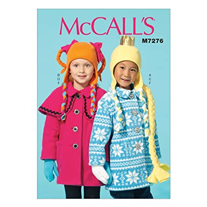 Amazon Com Mccall S Patterns M7276 Children S Girls Coats Hat