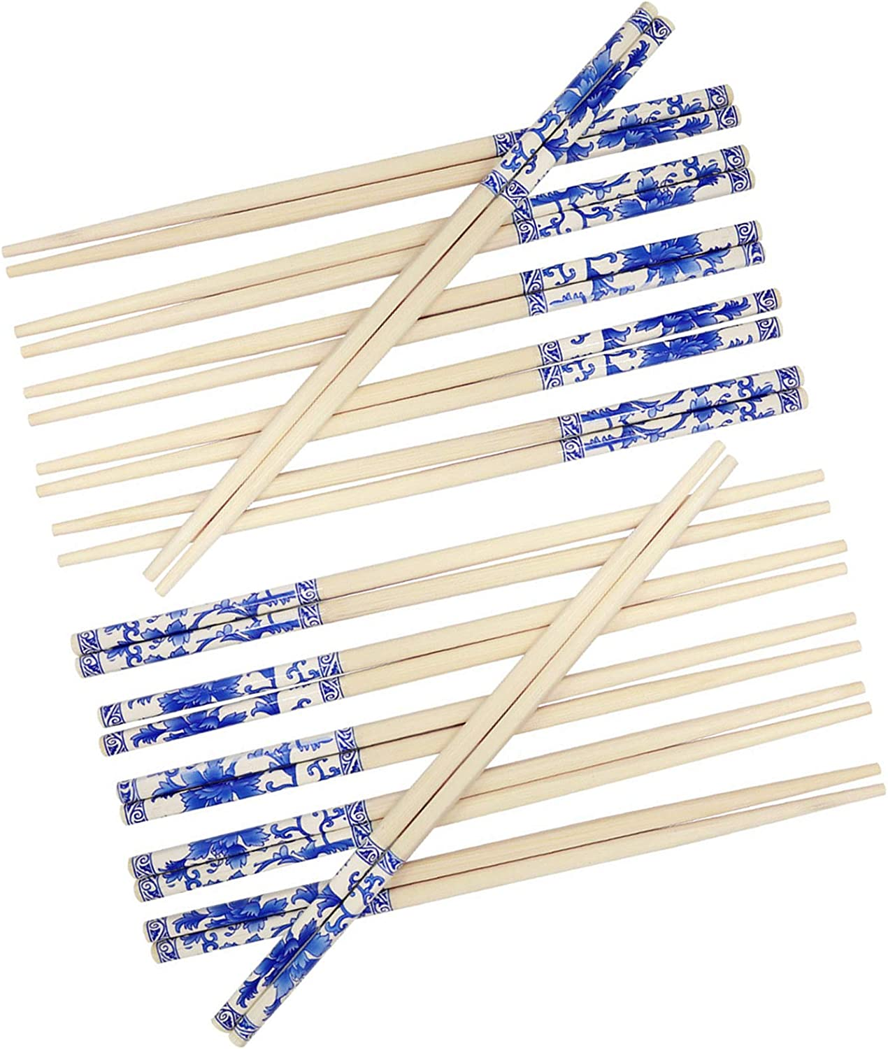 24 Pairs DisposableBambooChopsticks for Eating Chinese Japanese Korean Foods Noodles Sushi Smooth Separated Wooden Chopsticks for Takeout Asian Restaurants Travel Picnic DIY Crafts Projects, 9.45 in
