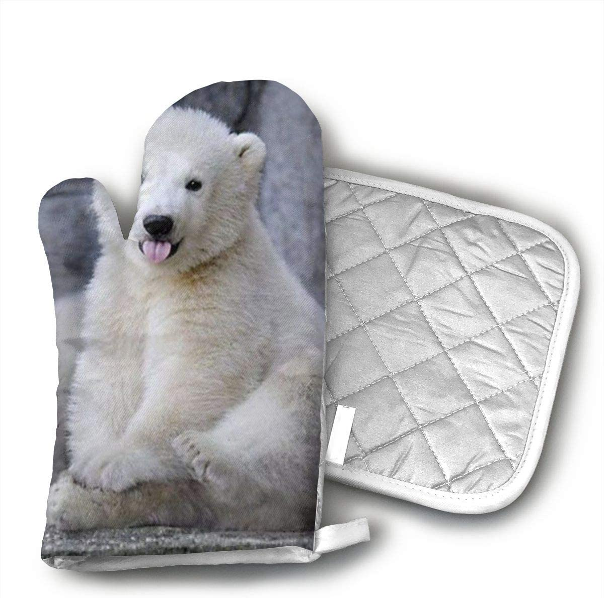 Baby Polar Bears Oven Mitts And BBQ Gloves Pot Holders, Heat Resistant Mitts For Finger Hand Wrist Protection With Inner Lining, Kitchen Gloves For Grilling Machine Baking Grilling With Non-Slip