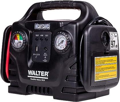Walter Autostartgerat Mit Kompressor Autobatterie Starthilfe Inklusive 12 Volt Anschluss Fur Batterien Akkus Und Gerate Amazon De Auto