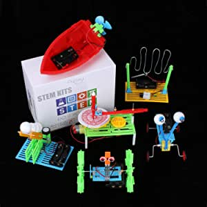 6 Set STEM Kit,DC Motors Electronic Assembly Robotic Science Kits, Mini Electric Plotter,Ball Emitter,Reptile Robot, Boat,Balance Car,Circuit Building DIY Science Experiments Projects for Kids