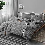 NANKO Queen Duvet Cover Set Gray, 3 Pieces 1200 TC Luxury Microfiber Down Comforter Quilt Bedding Cover with Zipper Closure,