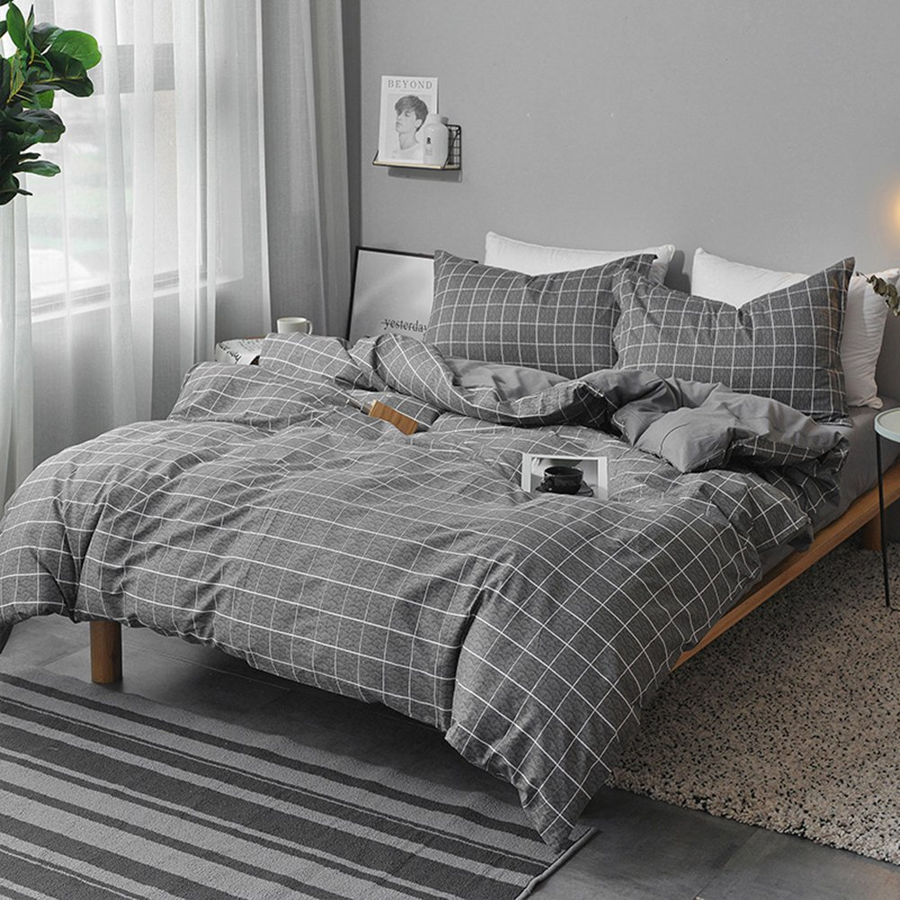 NANKO Queen Duvet Cover Set Gray, 3 Pieces 1200 TC Luxury Hypoallergenic Microfiber Down Comforter Quilt Bedding Cover with Zipper Closure, Ties - Best Organic Modern Style for Men and Women, Plaid 1808-Q