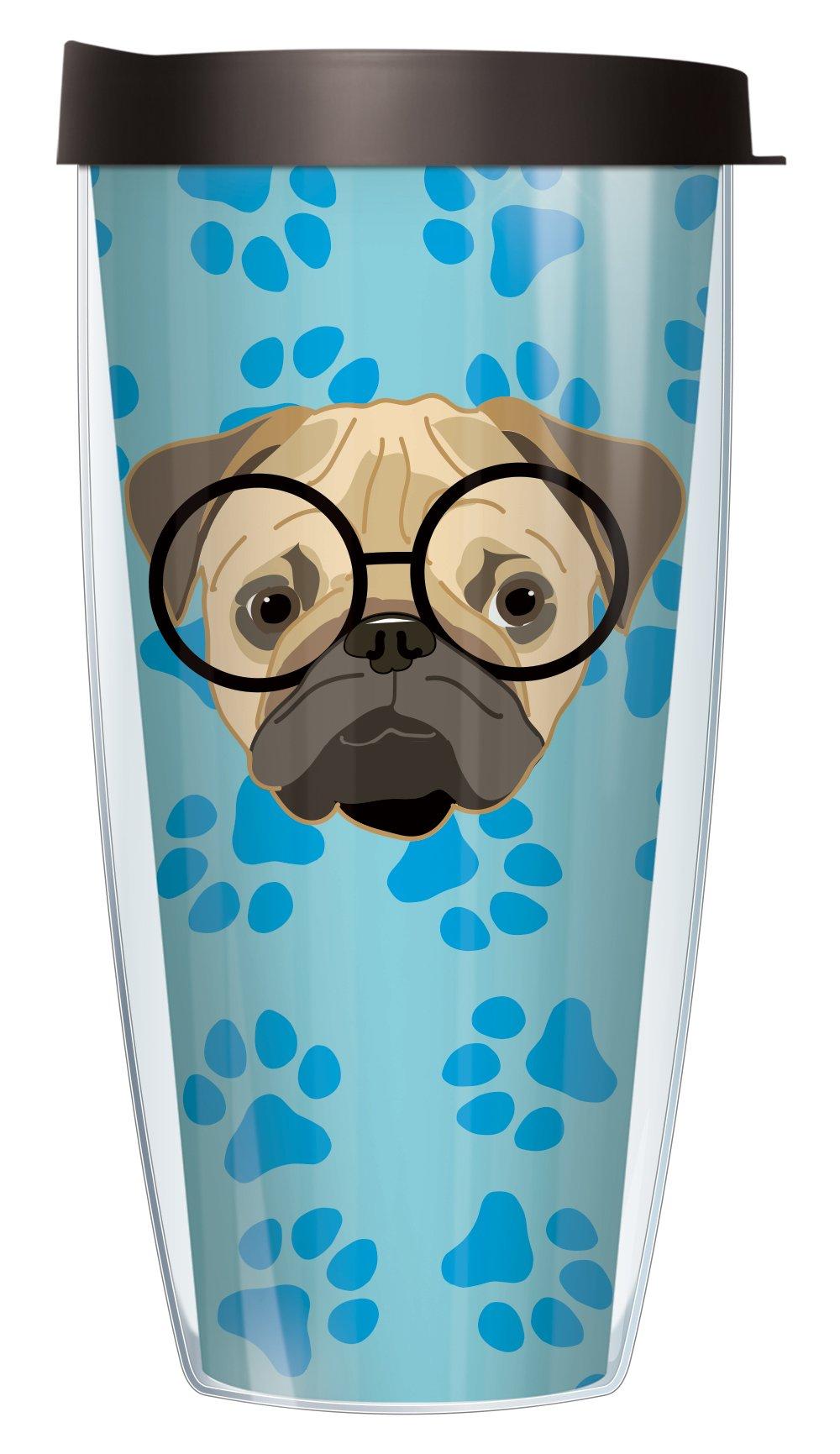 Funny Pug Dog 22oz Mug Tumbler Cup with Black Lid