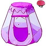 POCO DIVO Fairy Vase Tent Princess Playhouse Pink Playpen Girls Ball Pit Kids Pop-up Hexagon Mesh Play Tent