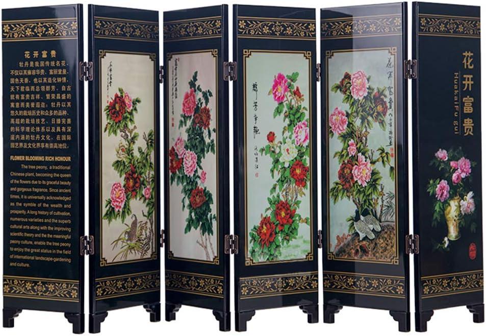 iFireFly 6 Paneles de Pintura de Laca pequeña Pantalla Plegable de rubí peonía Flor y Mariposa decoración del hogar Divisor de Escritorio o como un Regalo: Amazon.es: Hogar