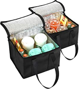 NZ Home 2 Pack Collapsible Coolers 29L x 21H x 23W | Hot & Cold Food Delivery Tote Bags | Perfect Mens Lunch Box or Adult Lunch Bag | Ideal as a Travel, Beach, Camping Cooler