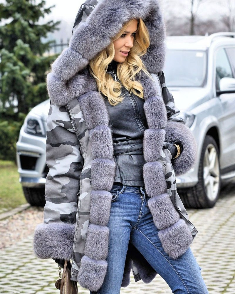 Roiii Plus Size Womens Military Hooded Warm Winter Coats Faux Fur Lined Parkas (Medium, Grey) by Roiii (Image #6)