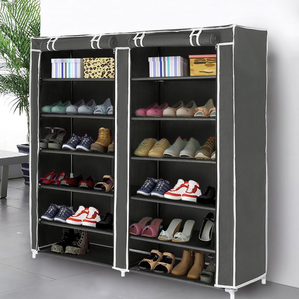 Superbe Blissun 10 Tiers Shoe Rack Shoe Storage Organizer Cabinet Tower With  Nonwoven Fabric Cover