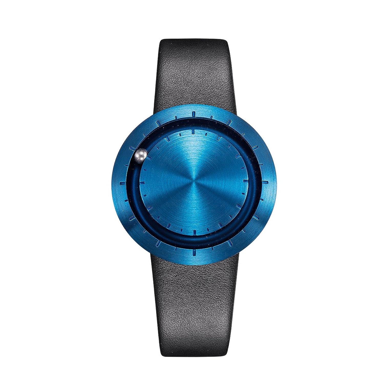 LAVARO fashion uhr damenuhren design armbanduhr herren blau ziffernblatt lederarmband schwarz 3ATM wasserdicht