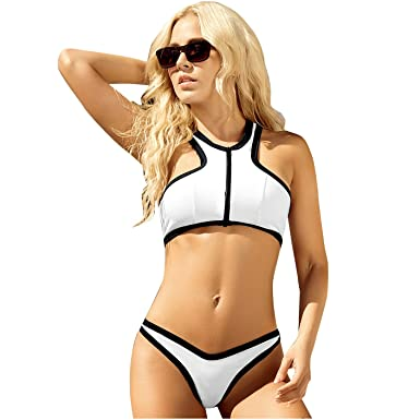 Amazon.com: Mapale Womens Summer Front Zipper Top Bikini ...