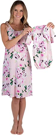 Mommy and Me Baby Be Mine 3 PC Set Annabelle Floral Maternity Nursing NIGHTGOWN /&  Matching Floral Baby Receiving GOWN and Newborn Hat