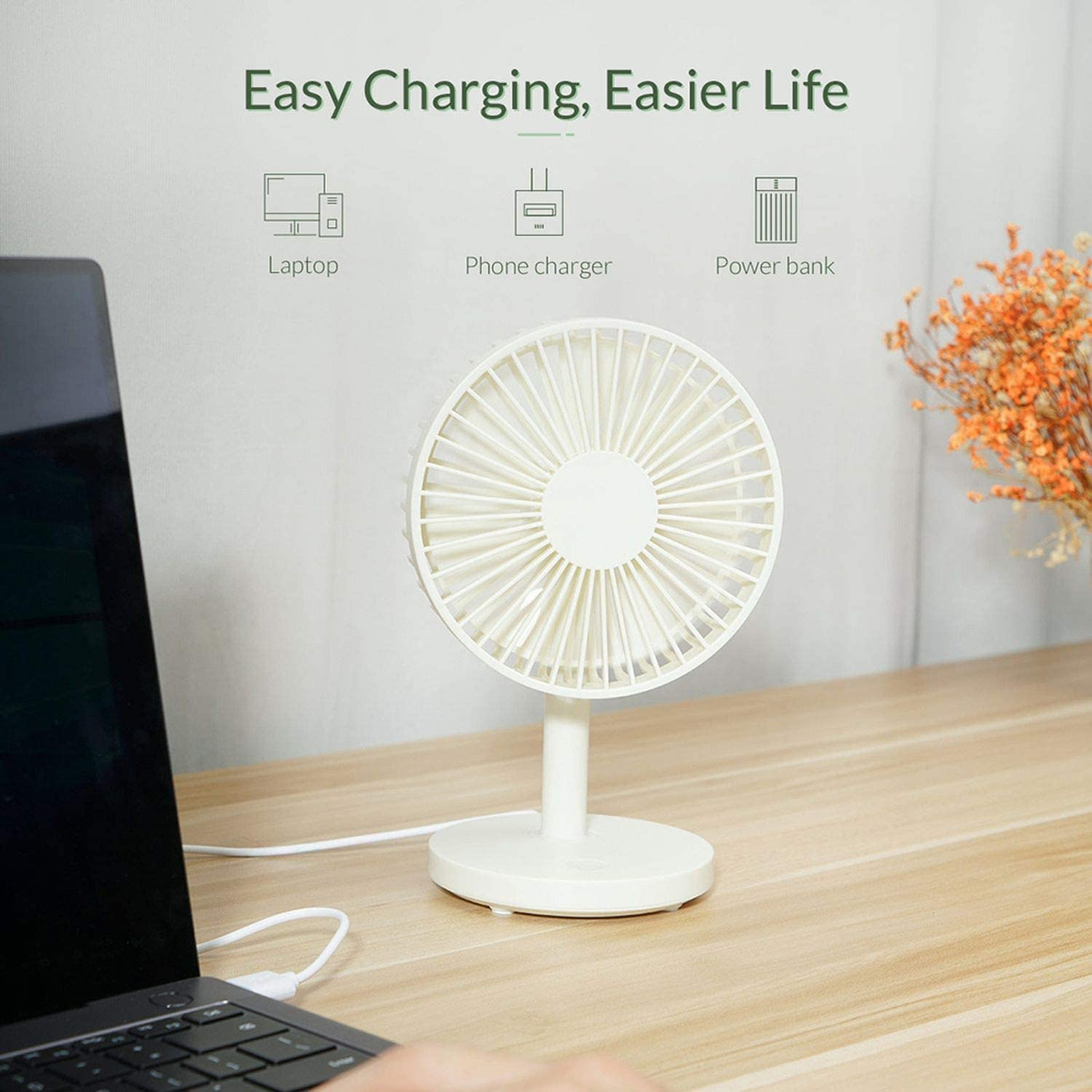 Mini USB Rechargeable Air Cooling Fan Clip Desk Fan Dual Use Home Bedside Portable Desktop Office Fan,Black