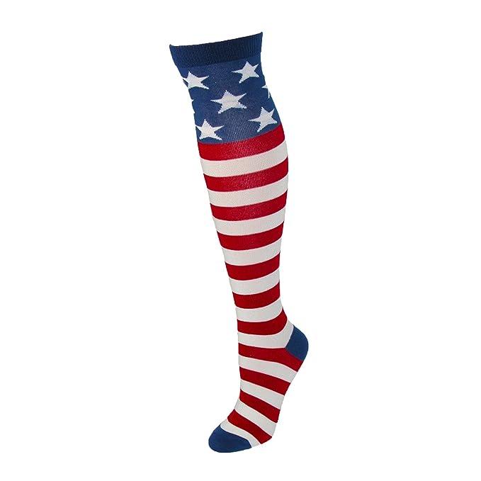 Women/'s American Flag Socks K Bell Crew Stars and Stripes Patriotic