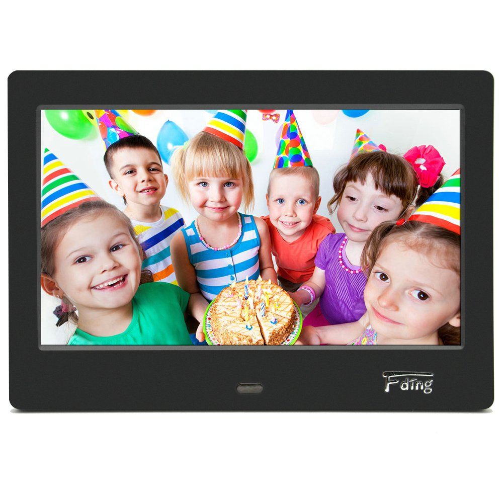 Fding 7-Inch HD Digital Photo Frame 16:9 LED Display Screen-1024x600 Hi Resolution, MP3/Photo/Video Player with Remote Control and 8GB SD Card