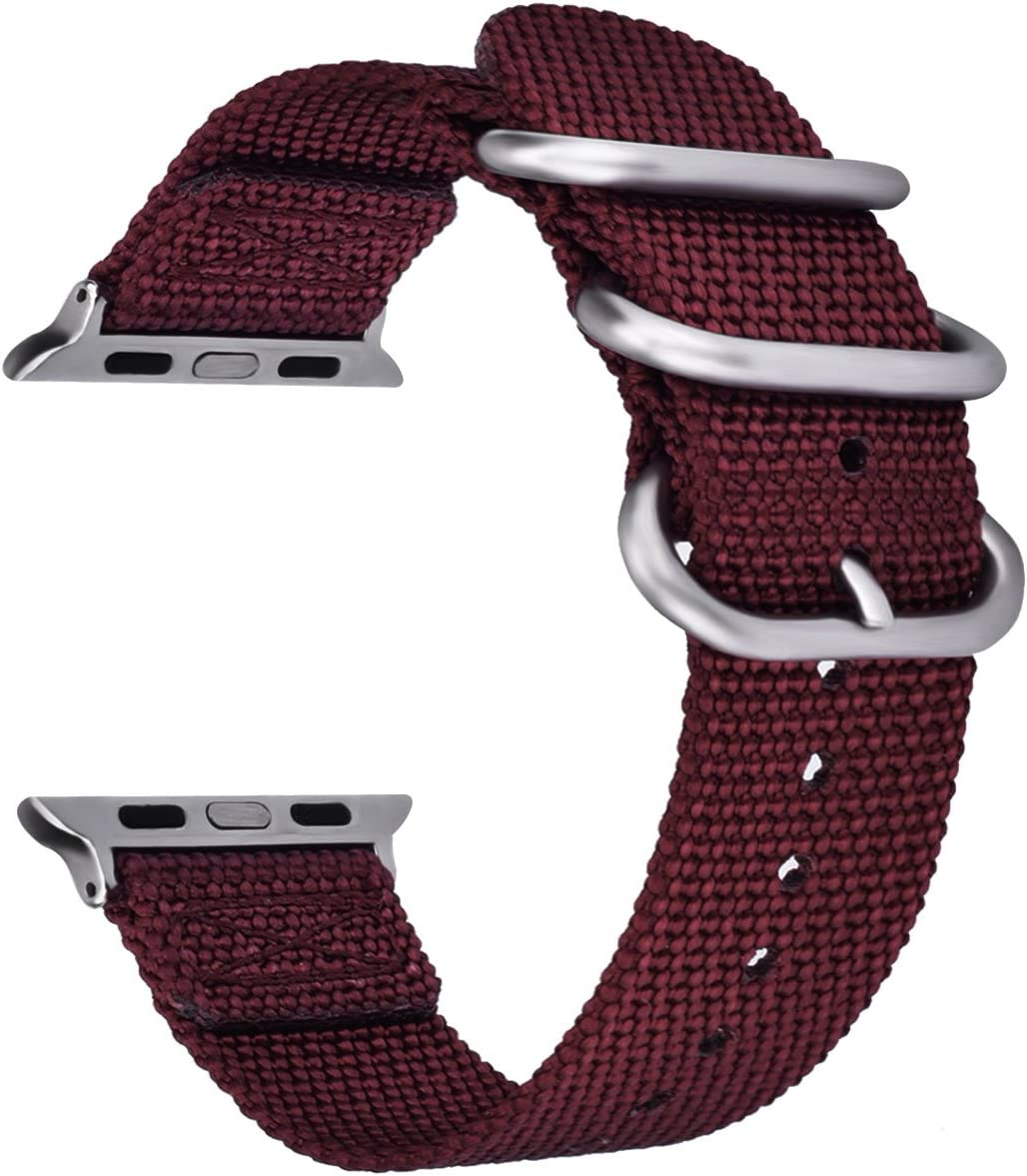 VIGOSS Bands for 40mm Apple Watch Band 38mm Women, Woven Nylon NATO iWatch Bands Soft Replacement Strap with Metal Buckle Bracelet for Apple Watch Series 4 3 2 1 Sport (Maroon,38mm/40mm)