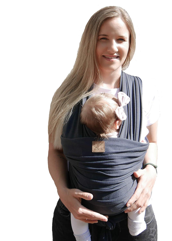 leicht zu tragen atmungsaktiv mehrere Positionen Carolilly Babytragetuch f/ür Neugeborene verstellbares Tragetuch
