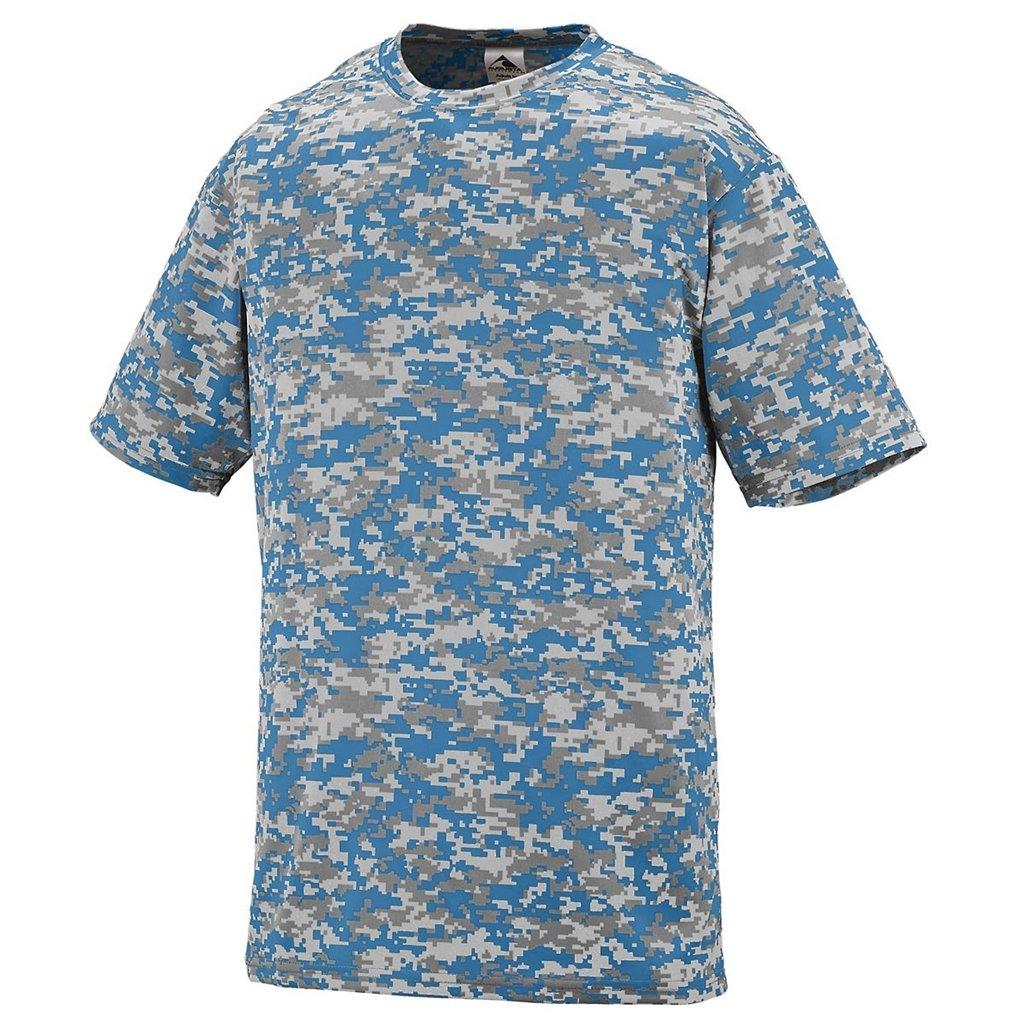 August Youth Digi Camo Wicking Shirt Style 1799 (Small, Columbia Blue Digi)