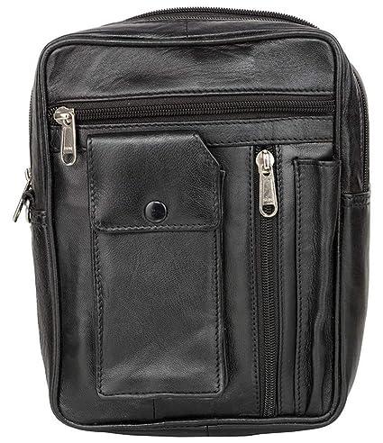 AspenLeather™ Genuine Leather Multipurpose Travel Kit Bag for Men, Black