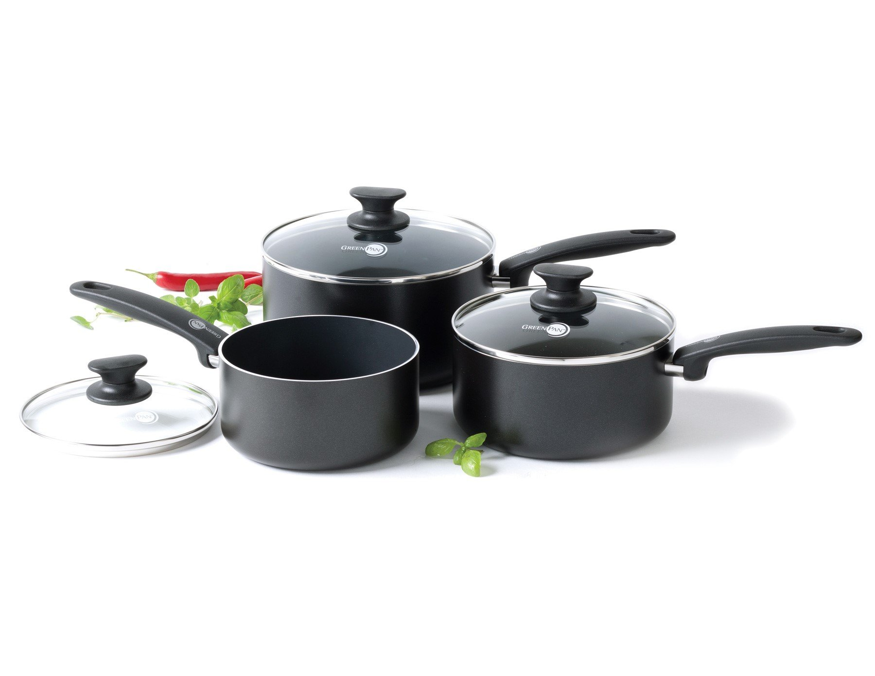 GreenPan Cambridge Healthy Ceramic Nonstick 16, 18 & 20cm Saucepan Set with Lid, 3 Pieces, Black