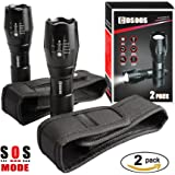 2 Bright Tactical Flashlights with 2 Flashlight Pouch Holsters Belt Carry Case Holders,COSOOS Zoomable 1000-Lumen LED Handlight,5-Mode,Waterproof Torch,Aluminum-Alloy Light,No 18650,AAA Battery
