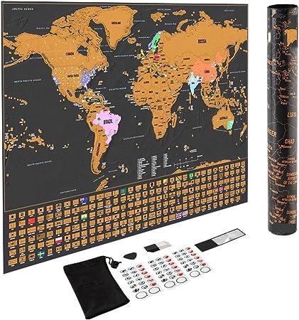 Dunamis Rascar impresiones Mapa del mundo, Deluxe de Scratch Map ...