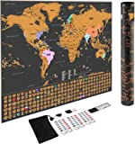 Scratch Off World Map Poster, Deluxe Scratch Map - Scratcher, Memory Stickers, Magnifier and Plastic Eraser, with Accurate Borders Map Scratch Off, Vibrant Colors, Islands and US States, by Dunamis