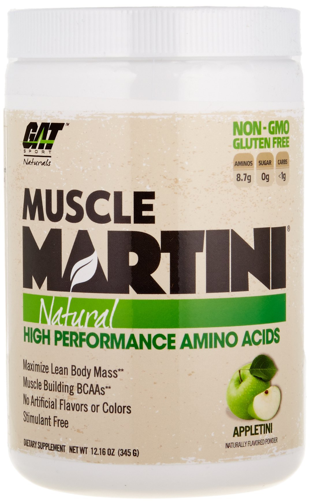 GAT Muscle Martini Natural BCAA Formula, High Performance Stimulant Free Muscle Building Amino Acids with No Artificial Flavors or Colors, Appletini, 30 Sv