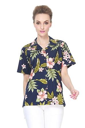 Femmes Fabriqué Hawaïen Aloha Chemise En Dame Hawaï Rose Hibiscus À vgRqgwZpTE
