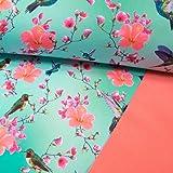 Softshell Stoff Digitaldruck Vögel Kolibris & Blumen Hibiskus Türkis-Mint - Preis Gilt für 0,5 Meter