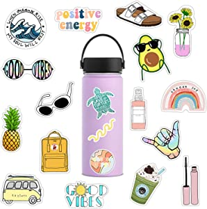 35 Pcs VSCO Stickers for Hydro Flask Water Bottles,Waterproof,Aesthetic,Trendy Stickers for Teens,Girls,Boys,Travel Case, Refrigerator, Laptop, Bicycle Vinyl Decal