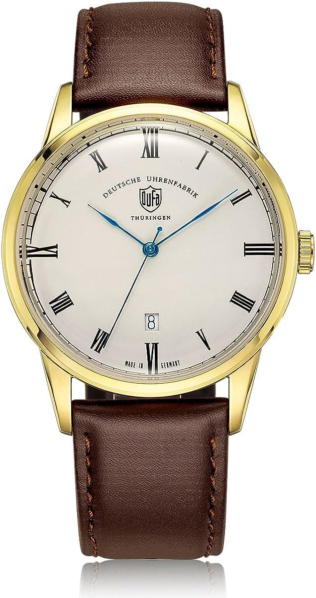 Reloj Cuarzo Dufa Deutsche Uhrenfabrik para Unisex con Blanco Analogico Y 0 Cuero Weimar DF-9008-04 Quartz