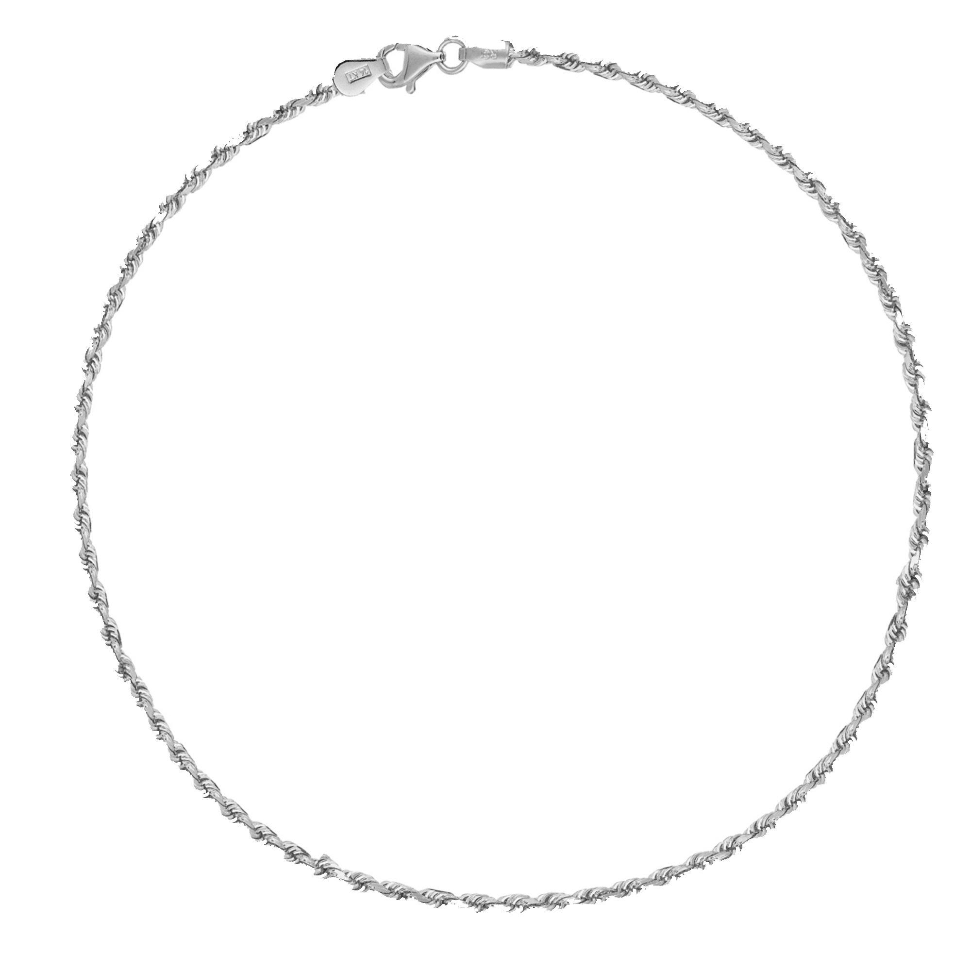 Sterling Silver Italian Rope Chain Lobster-Lock Anklet or Bracelet 1.8mm width