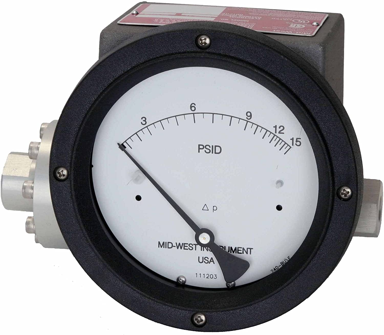 4-1//2 Dial 1 Diaphragm Type Mid-West 240-SC-02-O -30P Differential Pressure Gauge with 316 Stainless Steel Body and 316 Stainless Steel//Ceramic Internals 3//2//3/% Full Scale Accuracy 1 Control Switch in NEMA 7 Class1-Div.1 Explosion Proof Enclosure JAA